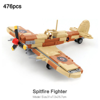 Army Spitfire Fighter Compatible legoinglys Military ww2 German Aircraft Model Mini Pilot Figures Building Block Kids Toys Gift
