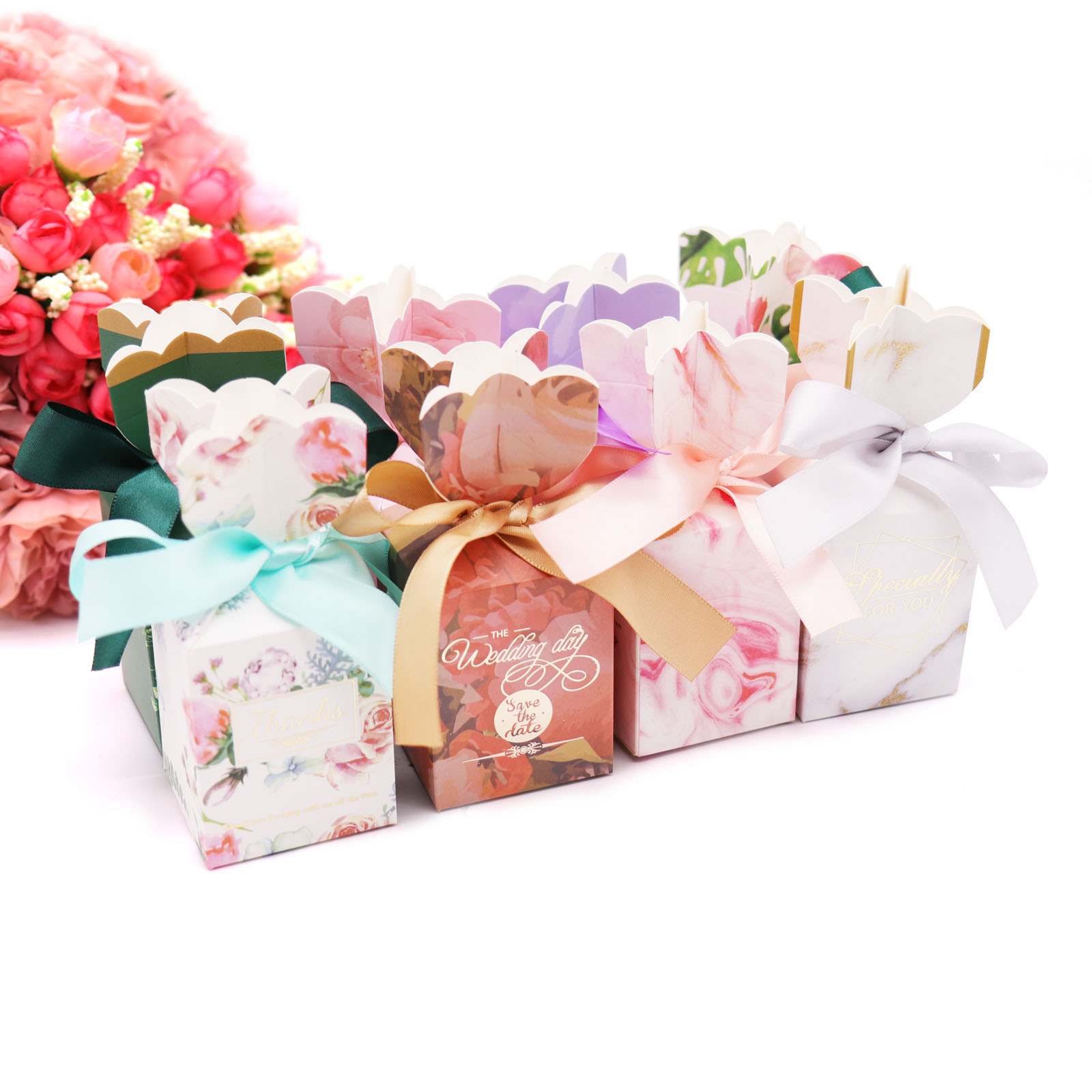 10Pcs Wedding Candy Gift Box Vase Flower Design Paper Bag Birthday Party favor