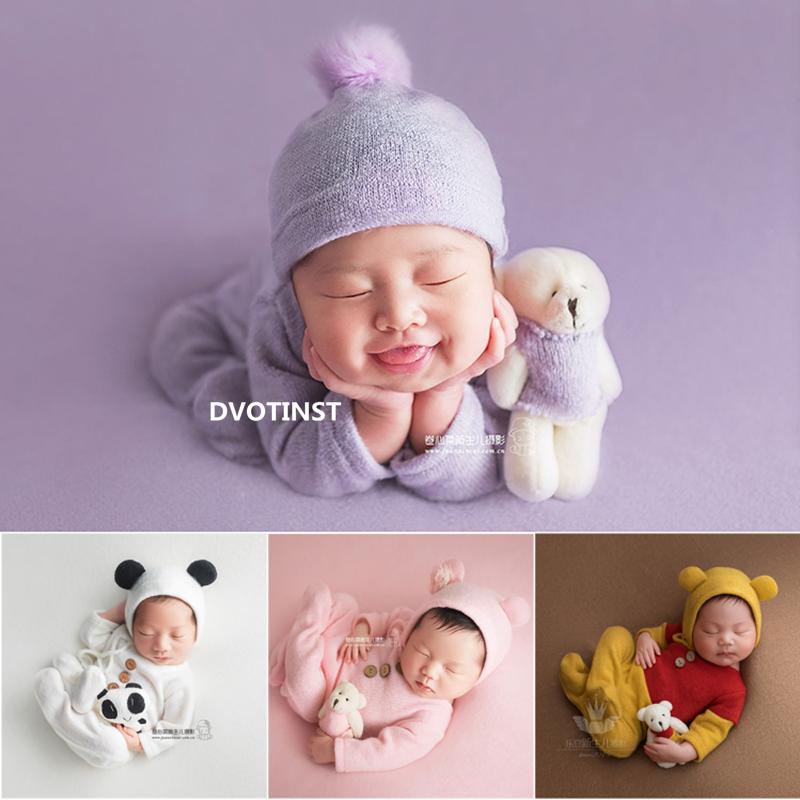 Dvotinst Baby Newborn Photography Props Cute Animals Bear Outfits Bonnet Doll Set Backdrop Fotografia Studio Shoots Photo Props