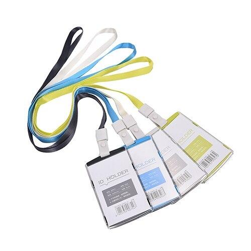 1 Pcs Vertical Transverse Clear Plastic ID Name Card Holder Work Badge W/ Lanyard Name Card