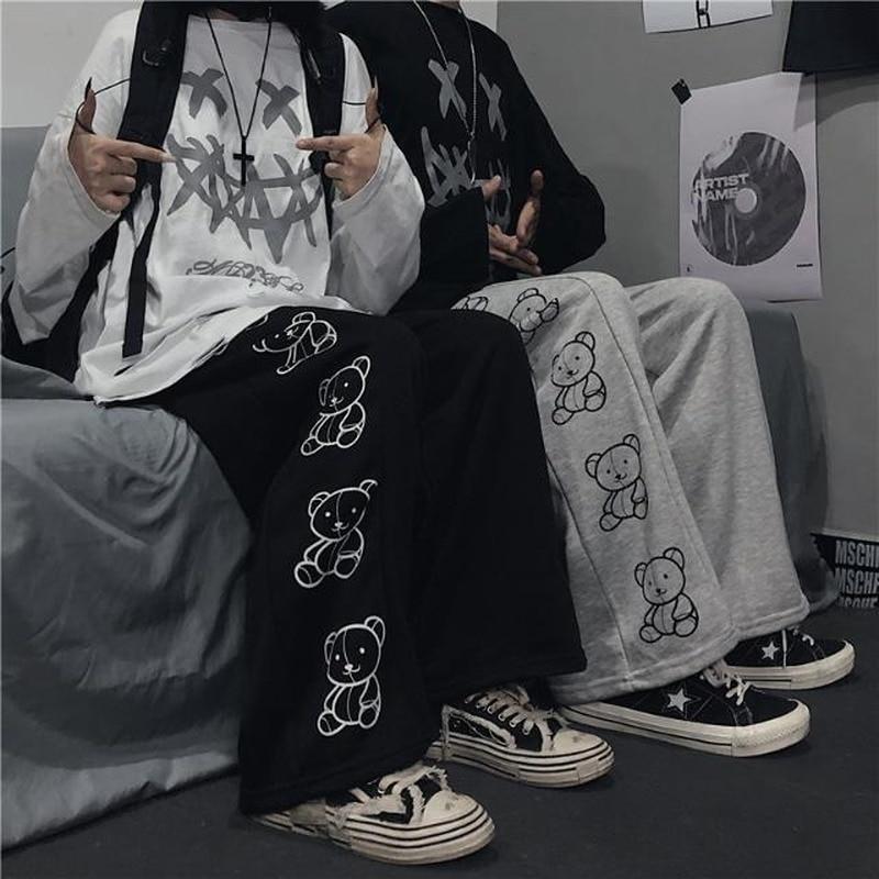 HOUZHOU Korean Style Wide Leg Pants Cartoon Print Harajuku Trousers Women Streetwear Autumn Fashion Streetwear Sweatpants Women 4