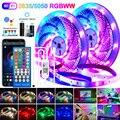 Светодиодные ленсветильник поддержкой Wi-Fi 5050, RGBWW 2835, Bluetooth светильник Светодиодная лента RGB с теплым белым светом, гибкая лента с адаптером п...