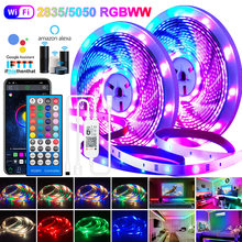 Tiras de led luzes wifi 5050 rgbww 2835 bluetooth led tira de luz rgb branco quente flexível lâmpada fita dc adaptador para alexa