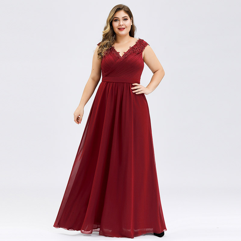 Plus Size Prom Dresses A-Line V-Neck Sleeveless Ruched Appliques Elegant Chiffon Formal Party Gowns Vestido Gala Mujer 2020 4