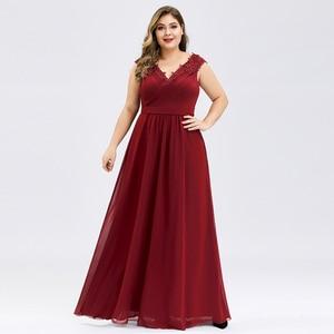 Image 4 - PlusขนาดProm Dresses A Line VคอแขนกุดRuched Appliques Elegantชีฟองอย่างเป็นทางการGowns Vestidoสำหรับเด็กMujer 2020