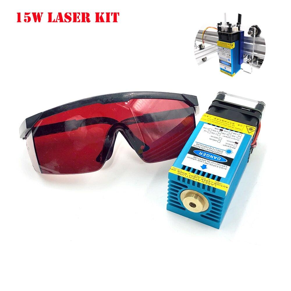 Модернизированный 15 Вт 450нм лазерный модуль с фиксированным фокусом режущая головка TTL/ШИМ лазерный гравер из нержавеющей стали для CNC 3018 Pro ...