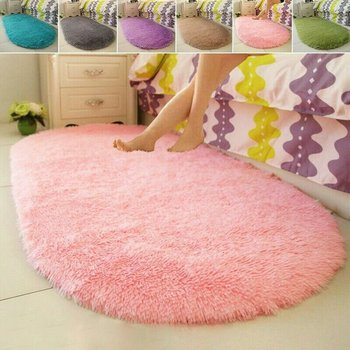New Cute Oval Carpet Floor Mats Home Living Room Bedroom Carpet Bedside Carpet Bed Front Blanket image