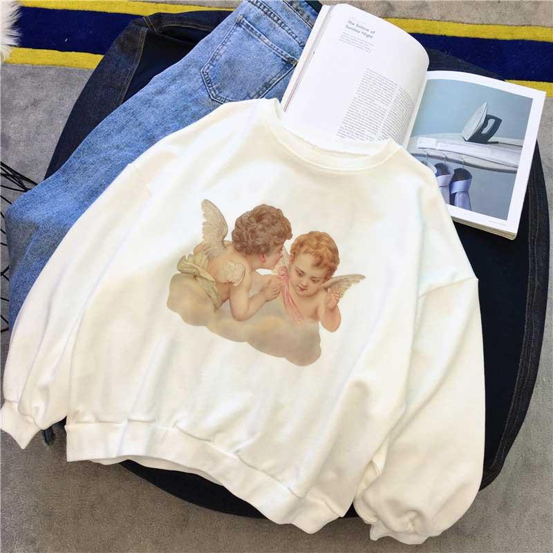 Harajuku Kawaii Korean Style Clothes Angel Kiss Pattern Printed Sweatshirt Long Sleeved Loose Sweet Pretty Casual Woman Tops