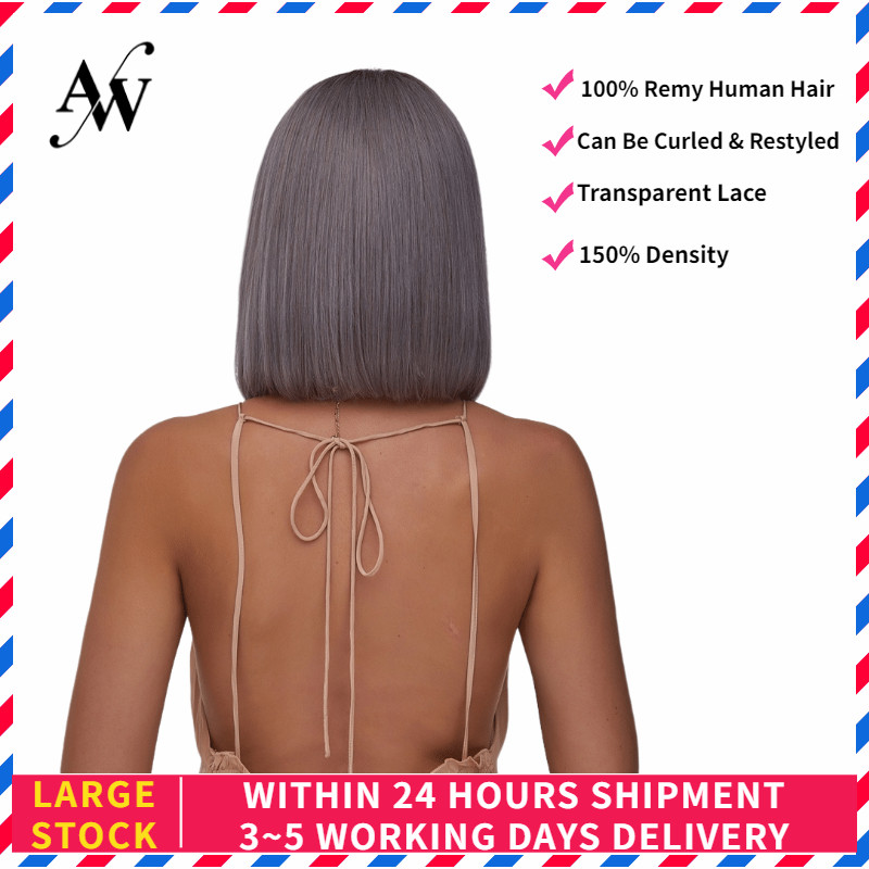 AW 10'' 12'' Grey Straight Bob Lace Front Wig Transparent Pre Plucked Hairline Remy Half Lace Wig For Women 150% Density