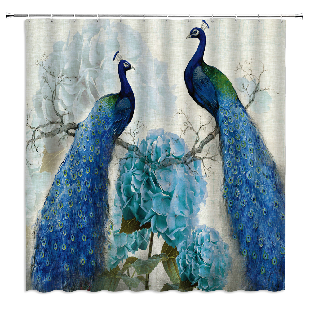 Spring Peacock Beautiful Feather Bathroom Shower Curtain Set Waterproof Fabric