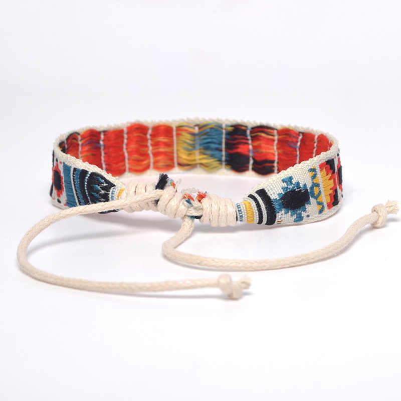 Pulseras de la amistad de la cuerda del tejido del estilo bohemio para las mujeres hombres pulsera hecha a mano del encanto del algodón y los brazaletes joyería étnica regalos