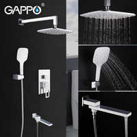 GAPPO Wall Mounted Bathroom Rain Waterfall Shower Faucet Set Concealed Brass Shower System Bathtub Shower Mixer Faucet Taps