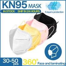 5 camadas ffp2 máscaras adulto preto kn95 máscara de tecido mascarillas máscara protetora boca kn95 filtro respirador ffp2mask masque