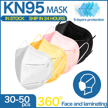 5 Layers FFP2 MASKs  Black KN95 Fabric Mask Mascarillas Protective Mouth Face Mask KN95 Filter Respirator FFP2MASK Masque