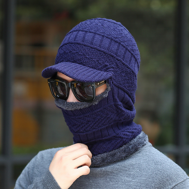 Fall/winter men's hat, neck guard, one-piece cap, ear guard, fluffy cap and bib, one thickened riding cap