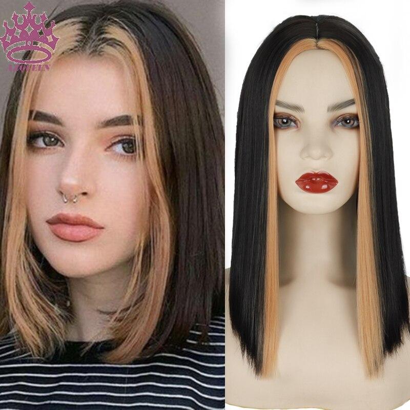 Azqueen curto bob perucas de cabelo sintético peruca de cabelo em linha reta para as mulheres em linha reta bob peruca de cabelo médio ombre cores para