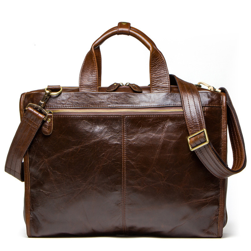 Leather Laptop Messenger Brown Bags Business Briefcase Man Single Shoulder Satchel Leisure Time Computer Package Free Shipping