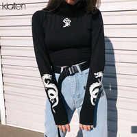 KLALIEN dragon print T-shirts reflective turtleneck Long Sleeve Slim Harajuku Streetwear 2019 New Women Fashion Short Tees