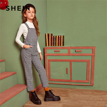 SHEIN Kiddie Grey Plaid Button Side Preppy Bandjes Jumpsuit Kinderen 2019 Winter Pocket Front Straight Leg Casual Jumpsuits(China)