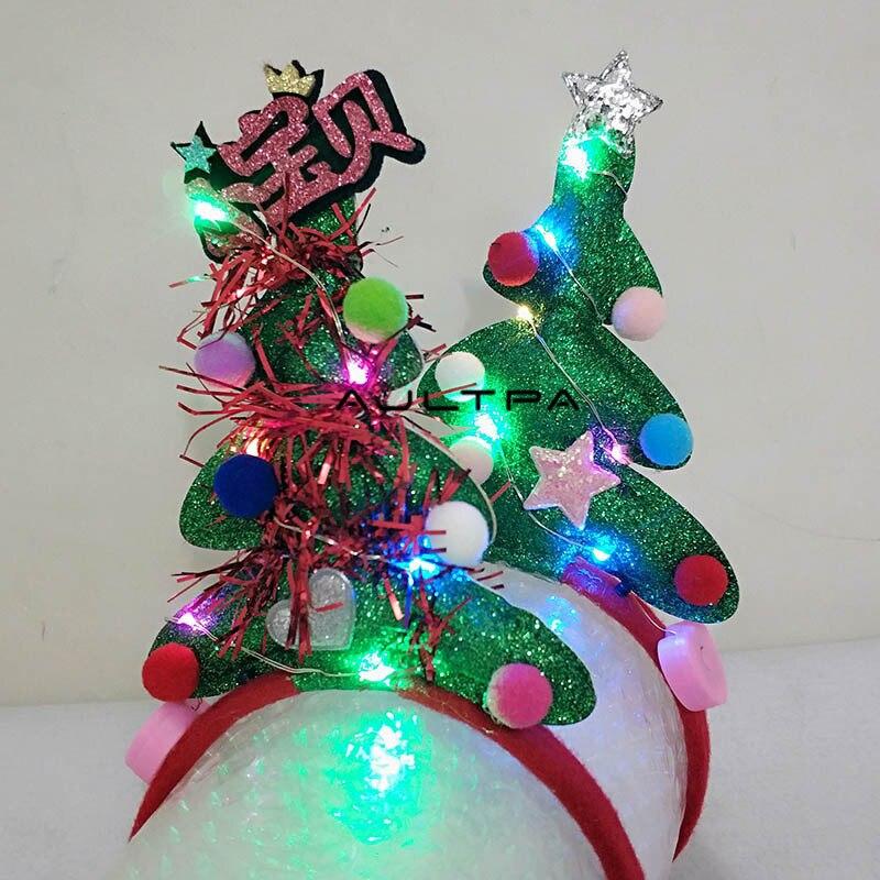 50Pcs New LED Flashing Christmas Tree Headband Women Girls Hairbands Hair Accessories Glow Party Supplies