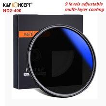 K & F קונספט רב מצופה ND2 400 ND מסנן 37 82mm מתכוונן מדעך משתנה מצלמה עדשת מסנן עבור canon Nikon Sony מצלמה DSLR