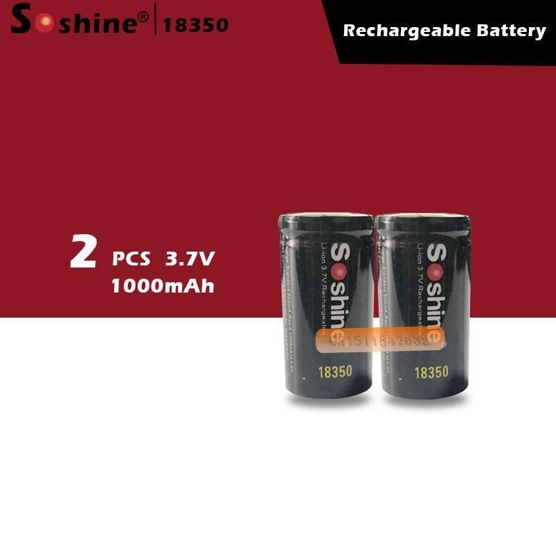 Soshine bateria 18350 mah 1000 v li-ion recarregável, 2 peças, com bateria de proteção caixa de armazenamento