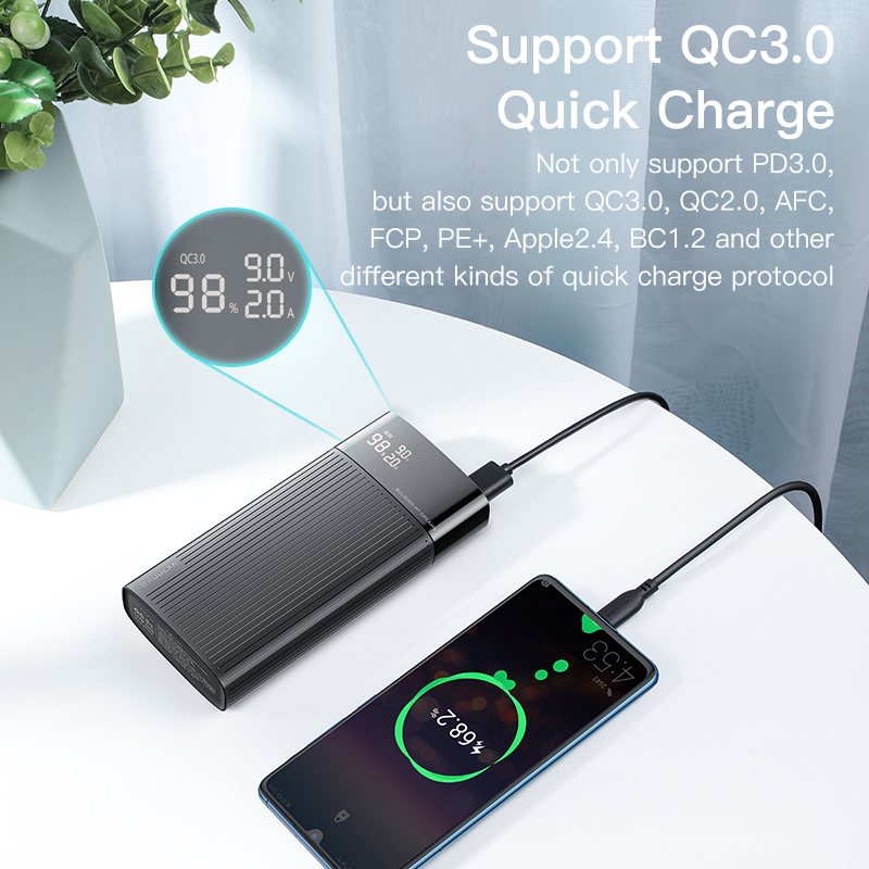 KUULAA power Bank 20000 mAh usb type C PD Быстрая зарядка+ Quick Charge 3,0 power Bank 20000 mAh Внешняя батарея для Xiaomi iPhone