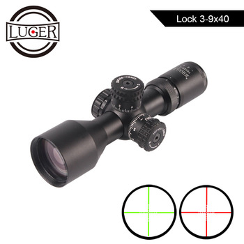 LUGER 3-9x40 Hunting Scope Red Green Mil-dot Illuminated Reticle Riflescope Lock Rifle Scope Tactical Air Gun Rifle Scope discovery hunting riflescope vt z 4x32 short economy air rifle riflescope with free scope mount