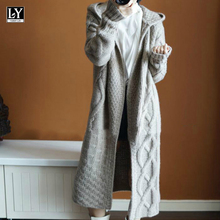 Casual Sweater Hooded-Cardigan Knitted Thicken Women Coats Long-Sleeve Winter New Warm