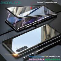 Note10 + 360 funda frontal de cuerpo entero en la parte posterior de cristal curvado con adsorción magnética para Samsung Galaxy Note 10 Note10 Plus Note10plus