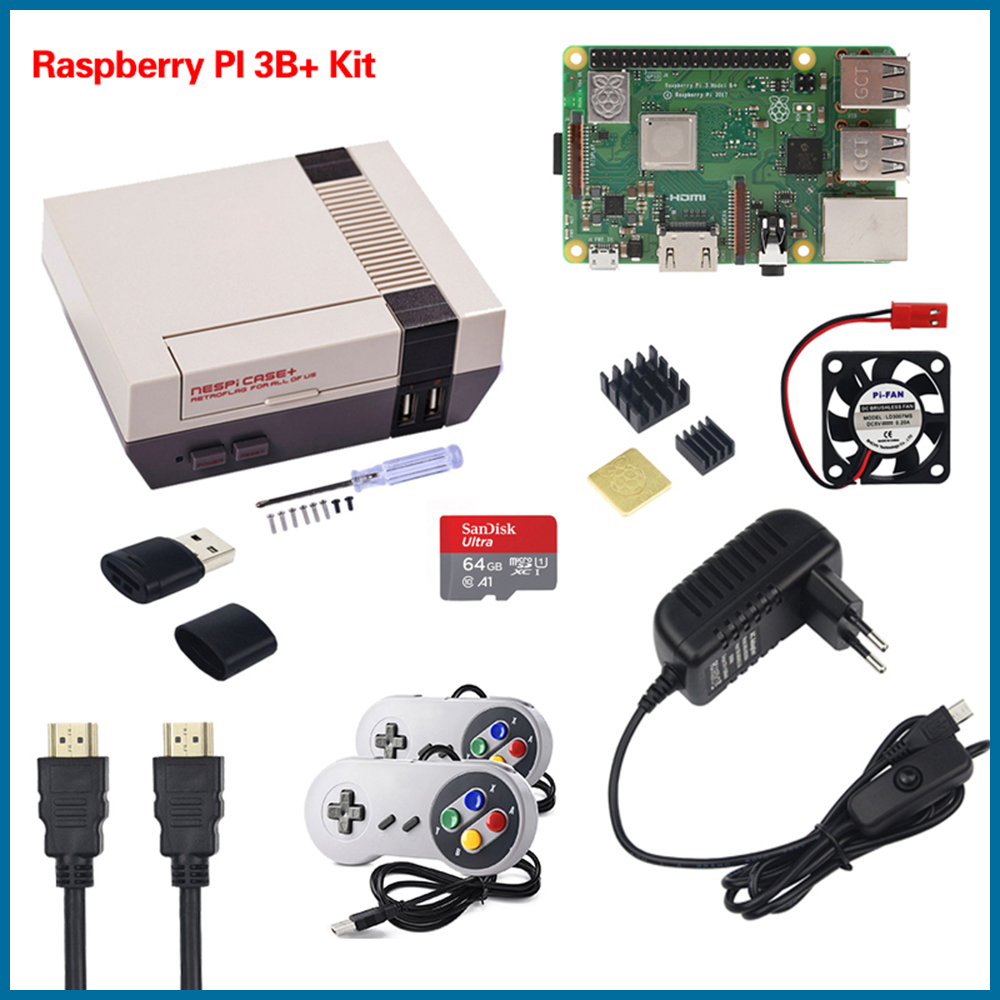 S ROBOT NESPi CASE+ Raspberry Pi 3 Model B+ Kits + 32GB SD Card + 3A Power Adapter + Heat Sink + 2 Gamepad Controller RPI54