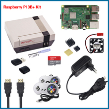 S ROBOT NESPi CASE+ Raspberry Pi 3 Model B+ Kits + 32GB SD Card + 3A Power Adapter + Heat Sink + 2 Gamepad Controller RPI54 raspberry pi 3 model b nespi case plus 2 wireless gamepad 32gb sd card 3a power adapter fan heat sink for retropie