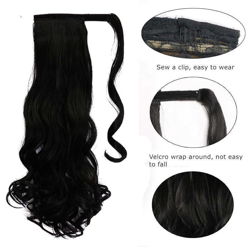 """WTB 22"""" Long Wavy Wrap Around Clip In Ponytail Hair Extension Heat Resistant Synthetic Natural Wave Pony Tail Fake Hair"""
