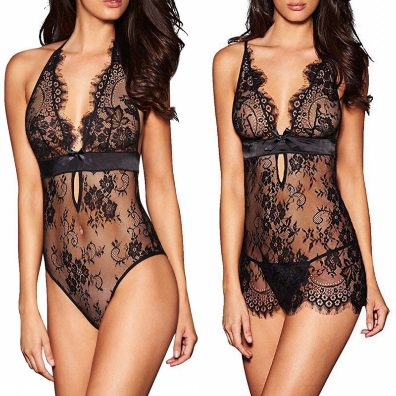 Lace Sex Costumes Transparent Lingerie Sexy Hot Erotic Underwear Women Backless Babydoll Nightdress Sexy Lingerie Sex Clothes