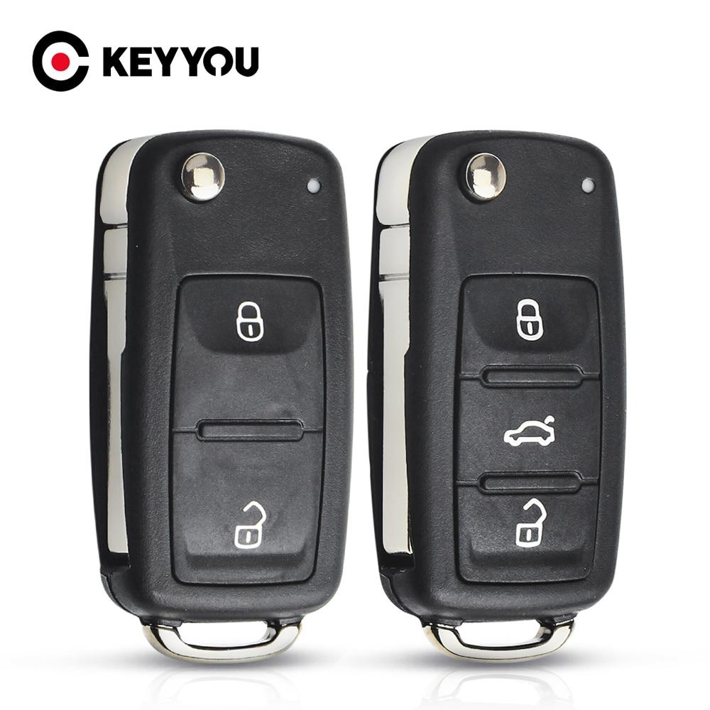 Keyyou 10x remoto caso chave escudo para vw volkswagen skoda octavia golf mk6 tiguan polo passat cc substituição do assento 2/3 botões