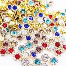 Strass à griffes, mélange de couleurs, fleur de soleil, Flatback, couture, cristaux brillants, Base dorée, couture sur vêtements
