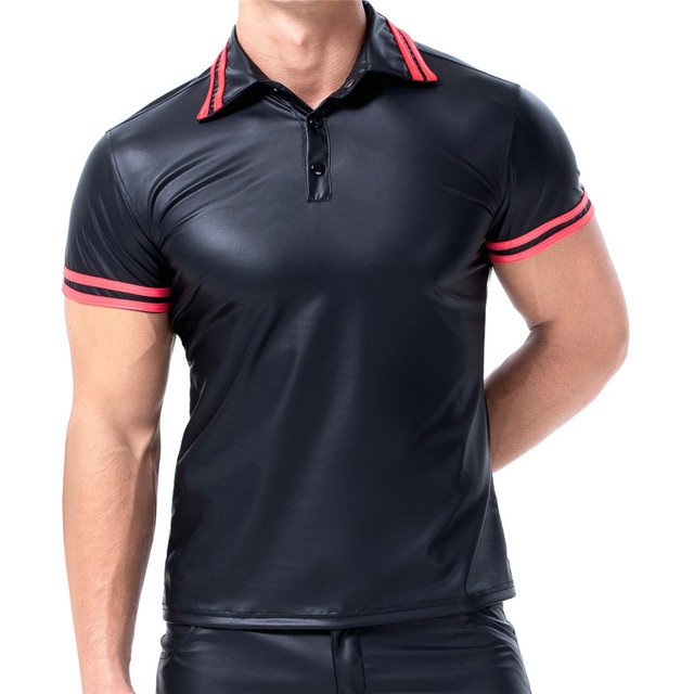 Mens T-shirts PU Leather Short Sleeve Body Shapers Streetwear Plus Size Undershirts Party Clubwear Sexy Shirts Tee Chemise XXL 1