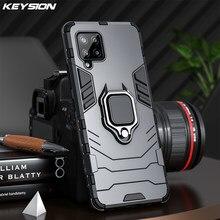 Keysion caso armadura à prova de choque para samsung a12 a42 a32 a52 5g anel suporte telefone volta capa para galaxy a02s a72 a52 m02s m51 m31s