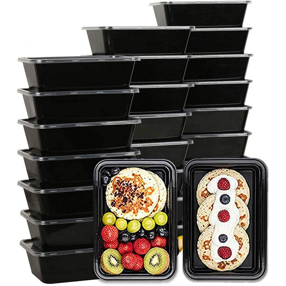 25Pcs Disposable Lunch Box 750ml Black Plastic Lunch Box Refrigerator Microwave Tableware Food Storage Container Lunch Box