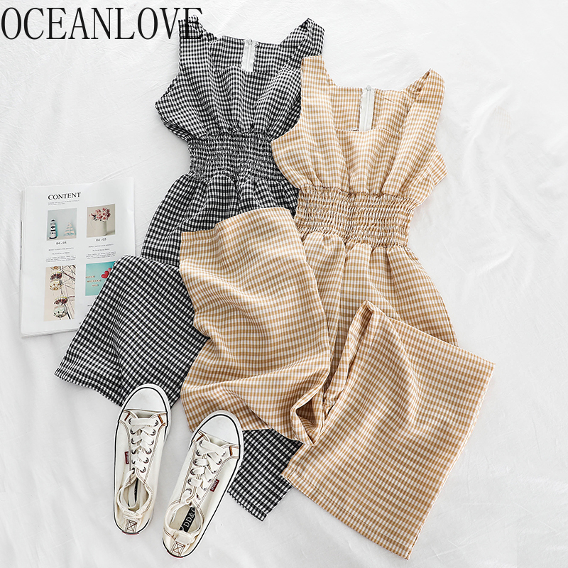 OCEANLOVE High Waist Plaid Women Jumpsuit Korean 2020 Simple Fashion Bodysuit Spring Summer Fashion Ropa Mujer Sweet 14592