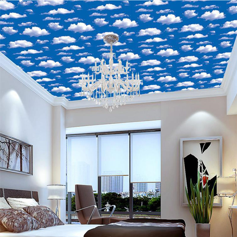 3D Blue Sky White Clouds Wallpaper Roll PVC Self Adhesive Wallpapers For Living Room Bedroom Hotel Ceiling Wall Mural Decoration