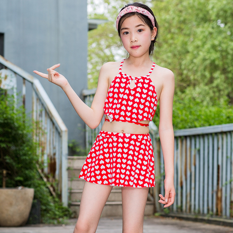 New Style Korean-style 6-9-Year-Old Children Bathing Suit Qmilch Heart Printed Two-piece Swimsuits Cute Girls Swimwear