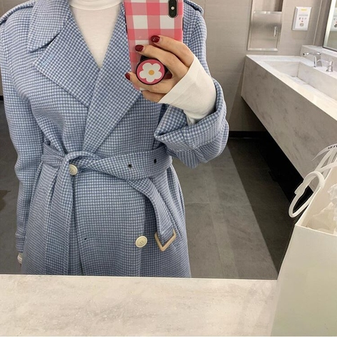 Autumn and winter New style belt coat Women fashion Plaid Long Wool Blend Overcoat Casual Loose Trench Coats Multan