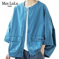 Max LuLu-Blusa de algodón de manga corta para verano, camisa holgada informal de estilo coreano para mujer, color azul, Vintage, talla grande, 2021