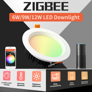GLEDOPTO ZIGBEE Smart Home 9W LED RGBCCT Downlight APP Control Work with Amazon Plus LED RGB Light Bulb Dimmable Voice Control