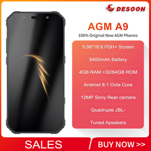 """Image 2 - AGM A9 Waterproof 5.99"""" FHD+ Screen Smartphone Android 8.1 4GB 64GB 5400mAh Tuned Speakers Quest Charge NFC OTG Cellphone"""