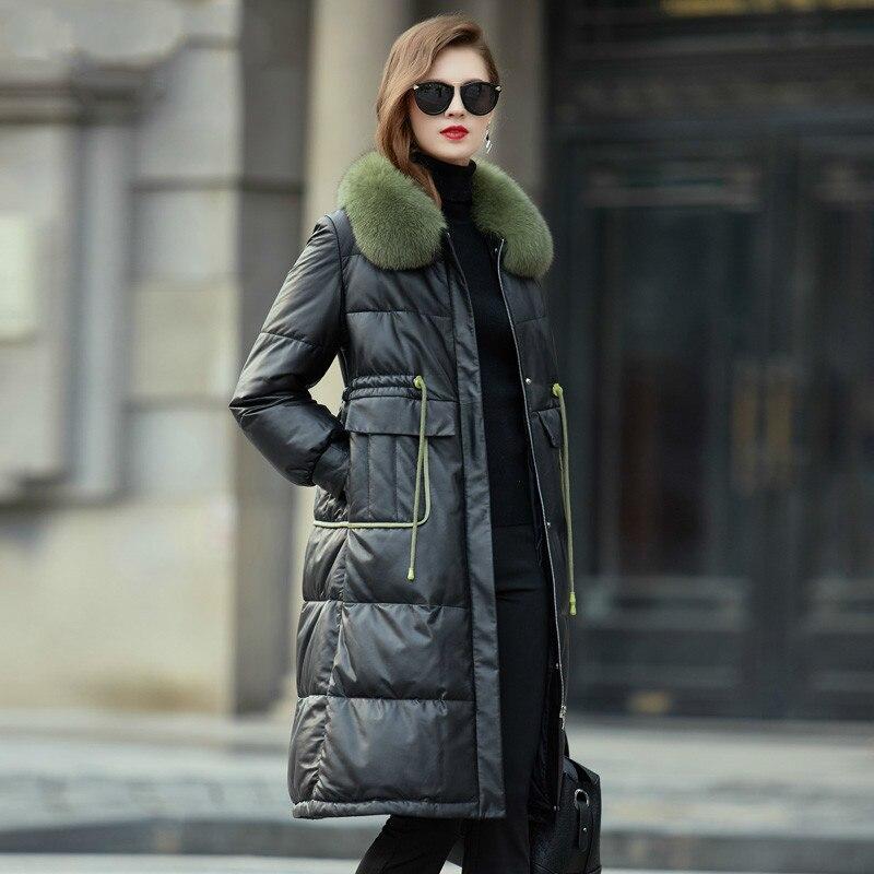 Real Genuine Leather Jacket Fox Fur Collar Autumn Winter Coat Women Clothes 2020 Korean Sheepskin Down Coat Plus Size ZT4905