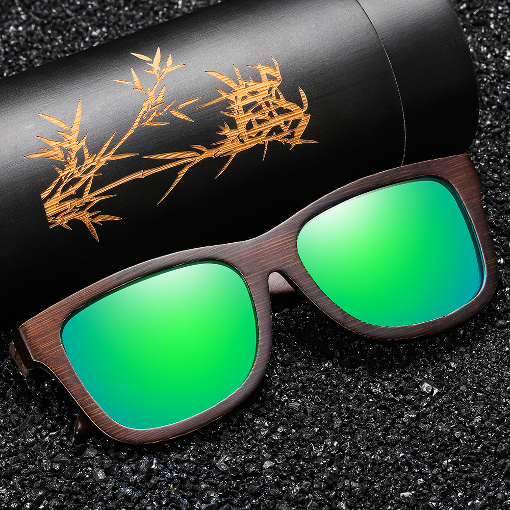 GM Natural Bamboo Wooden Sunglasses Handmade Polarized Mirror Coating Lenses Eyewear With Gift Box 2