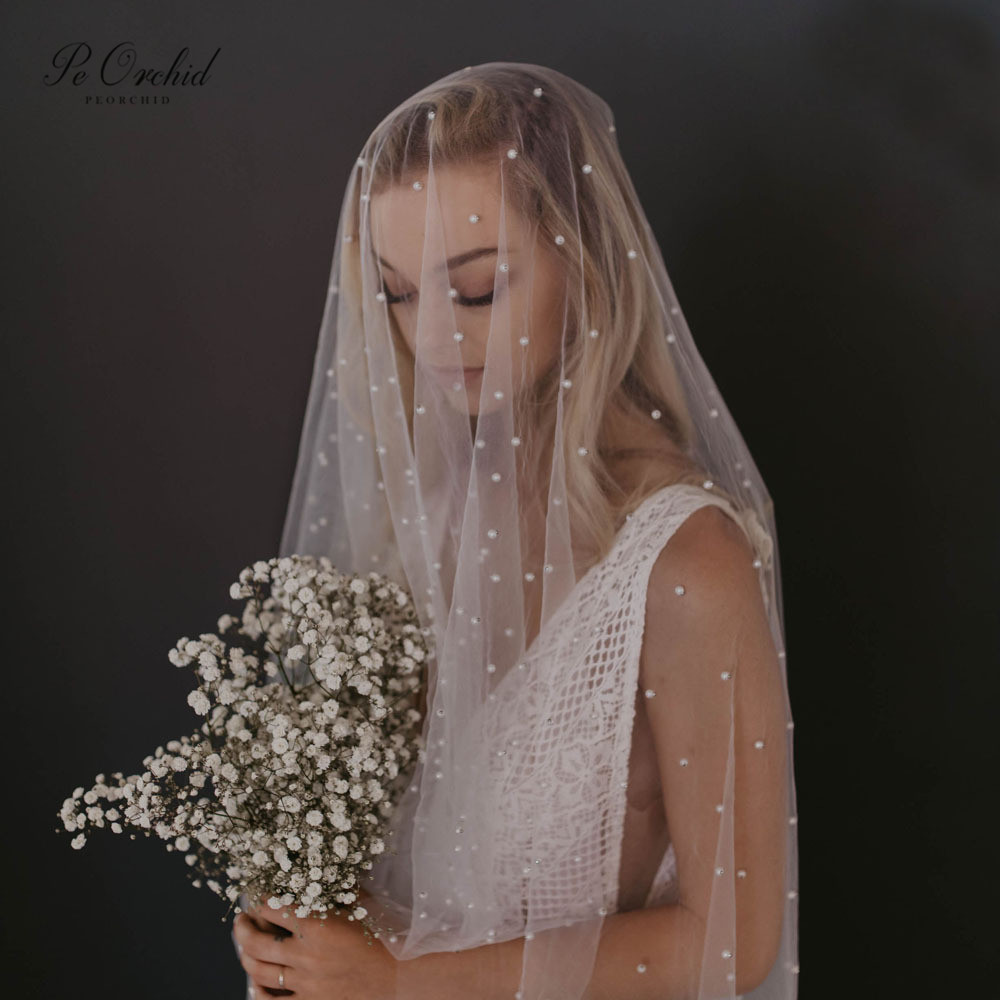 PEORCHID Cathedral Wedding Veil With Pearls 2 Meters 3 Meters Long One Layer Veil Comb Vintage Bruidssluier 2020