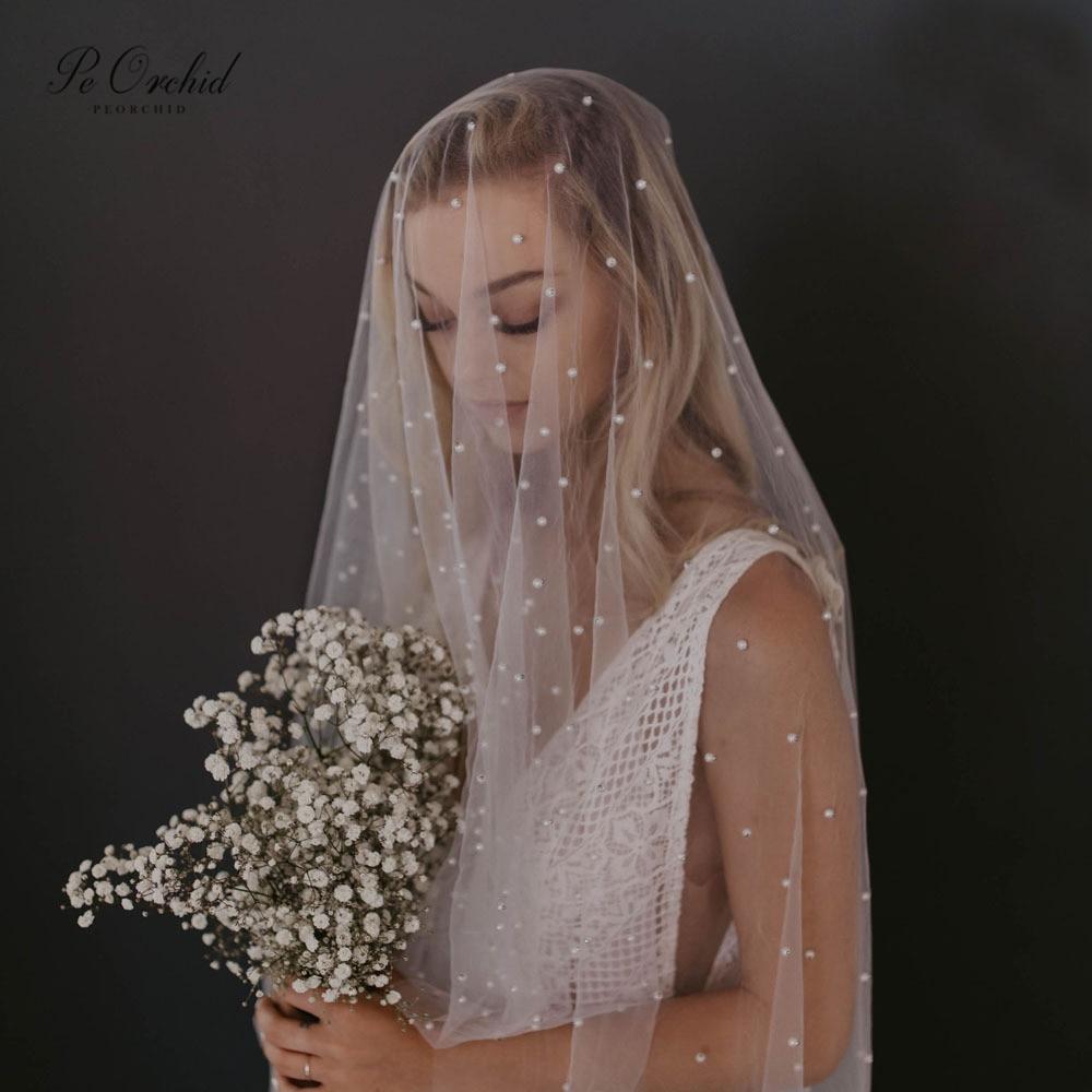 PEORCHID Cathedral Wedding Veil With Pearls 2 Meters 3 Meters Long One Layer Veil Comb Vintage Bruidssluier 2020